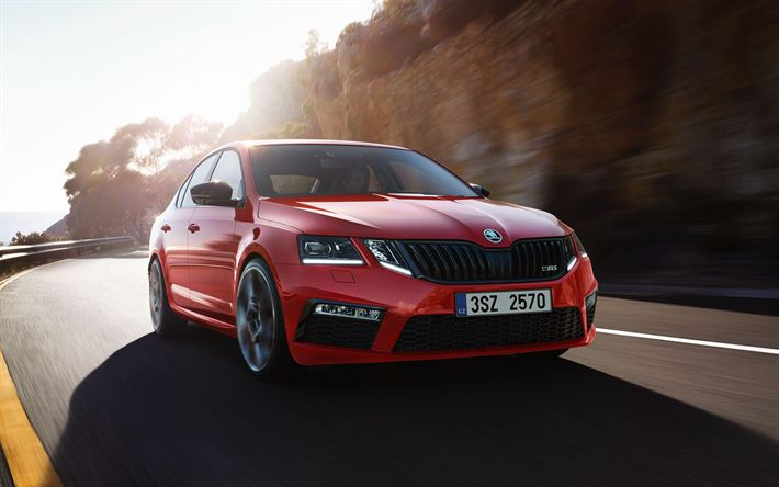 Download wallpapers Skoda Octavia RS 245, 2018 cars, road, Challenge Plus Package, motion blur, Skoda Octavia RS, red Octavia, Skoda