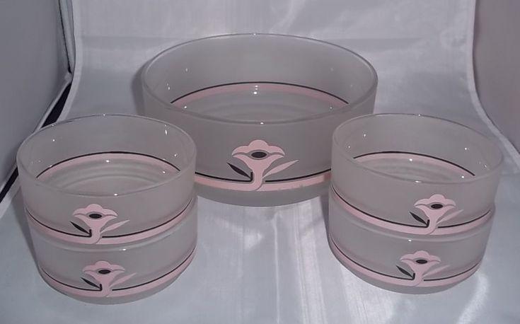 Vintage Art Deco Retro Serving Bowl Matching Smaller Bowls Frosted Pink Black