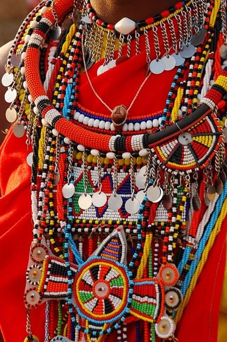 Masai jewellery  by ppdesigns  Beautiful and bright masai jewellery worn by a young masai woman in Kenya
