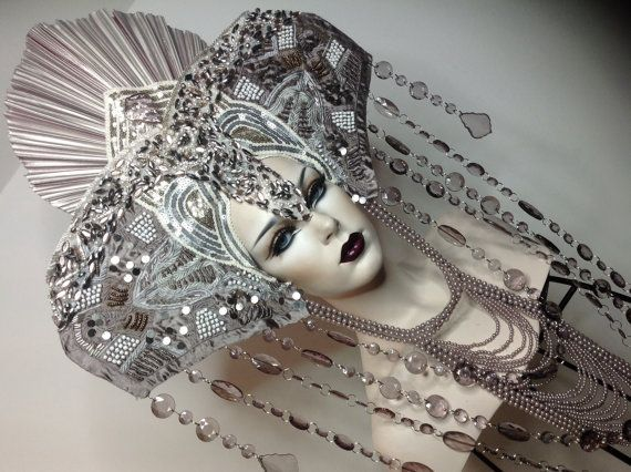 Beaded Rhinestone Goddess masked silver Fantasy headdress headpeice wig