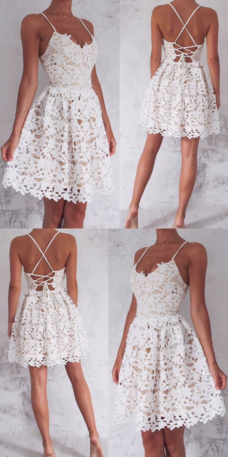 Women's Styles Summer Dresses Spaghetti Straps Homecoming Dresses,White Lace Homecoming Dr...