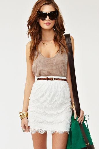 Lace: High Skirts Outfit, Fashion, White Lace Skirts Outfit, Summer Skirts Outfit, Cute Summer Outfits, Nasty Gal, Summer Clothes, White Skirts, Summer Clothing