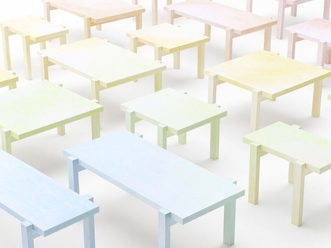 Colored-pencil table by Nendo.