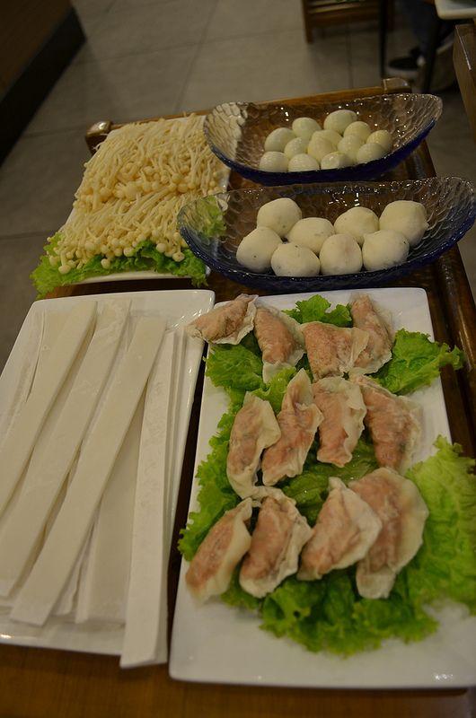 Pork dumplings, fishballs, quail eggs, enoki mushrooms, quail eggs, Hotpot, Little Sheep