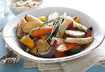 Bakte grønnsaker med timian og chili