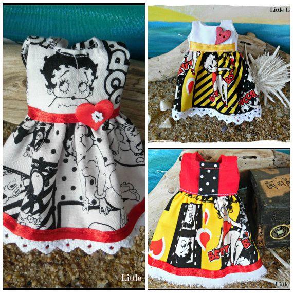 """BLYTHE Puppe Kleid - Unikate - """"Betty feiert"""" - 3 Baumwolle Kleider mit Betty Boop-Funktion"""