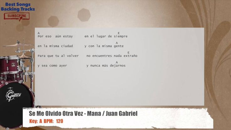 Se Me Olvido Otra Vez - Mana / Juan Gabriel Drums Backing Track with cho...