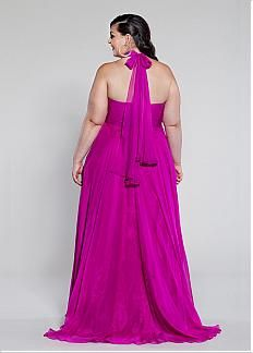 Alluring Silk Like Chiffon Halter Neckline Floor-length A-line Plus Size Prom Dress