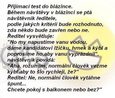 Přijímací test do blázince | Vtipné obrázky - obrázky.vysmátej.cz