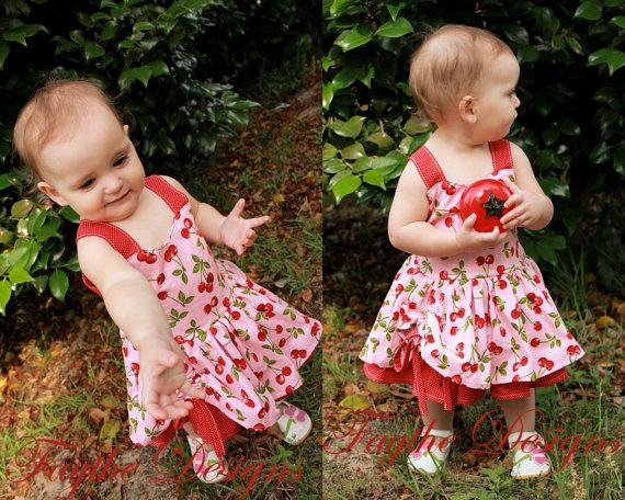 Girls Party Dress Cherry Dress Red Dress Boutique by Faythedesigns
