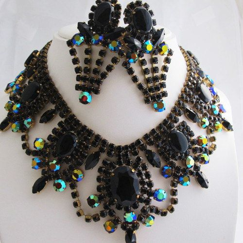 A Fabulous and Dramatic, Vintage Crystal Bib and Earrings Set, Occasion, Event,Party, Wedding by DesignerShowcase on Etsy