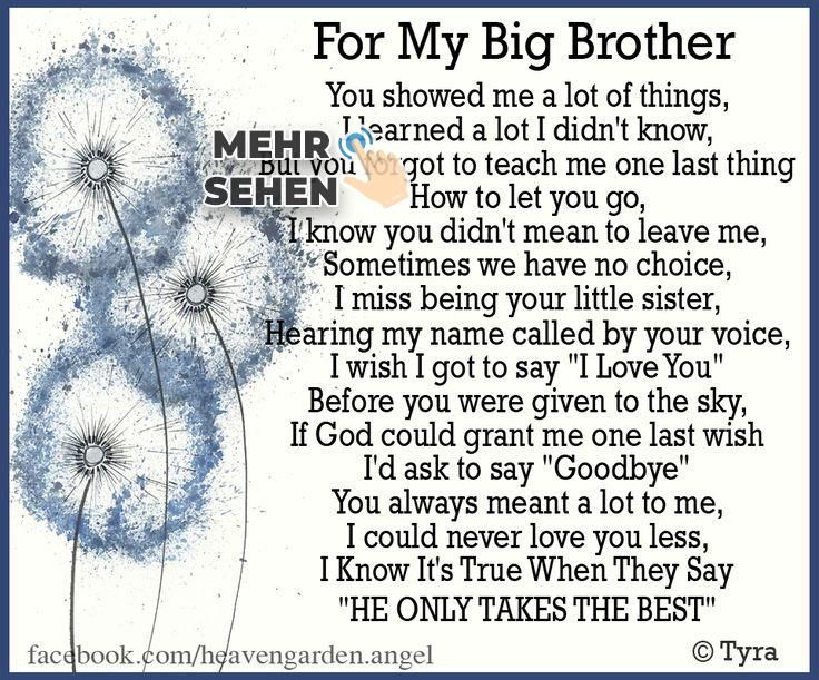 Memorial Poems Big Brother Gone Heavens Garden Big Brother Quotes Brother Quotes Brother Birthday Quotes