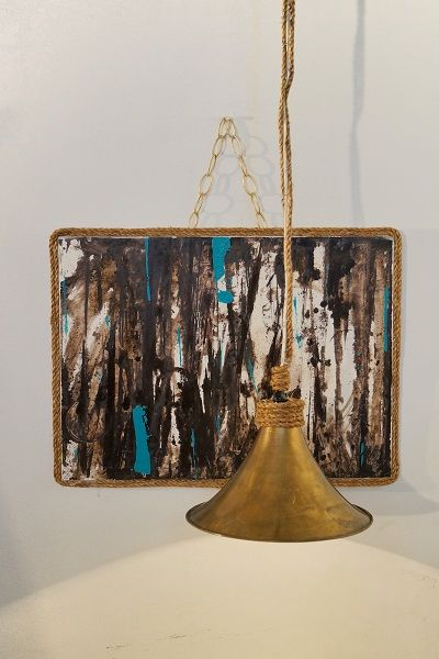 Custom art & hanging lamp. tlginteriors.com