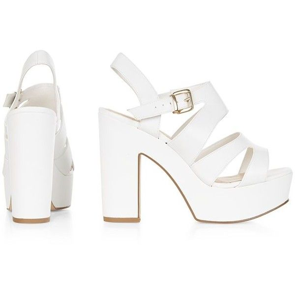 Wide Fit White Platform Block Heels ($40) ❤ liked on Polyvore ...