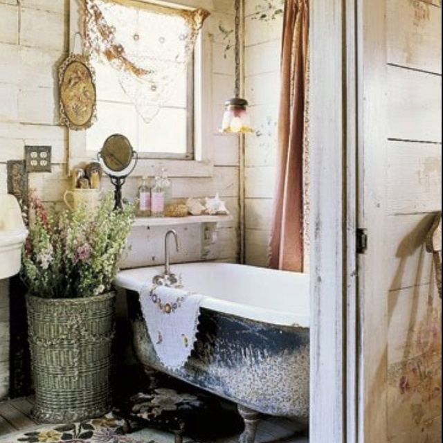 """A great old bathroom, with a claw foot tub filled with fragrant hot water...perhaps a few lit candles, and some relaxing music playing near by?  That's what I call """"my sanctuary""""....and God help the person that enters before my hour is up! lol"""