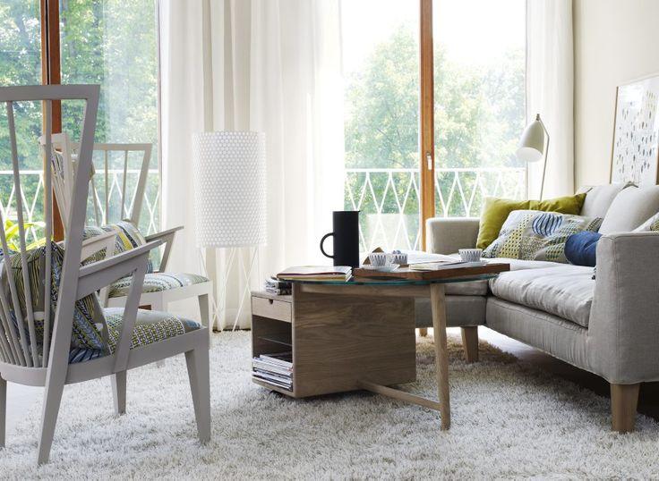 Länstol Soffbord diameter 100 med förvaring Soffa 100 och Fotpall 50x100