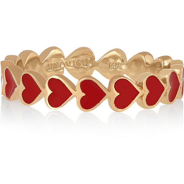 Alison Lou Heart 14-karat gold enamel ring found on Polyvore featuring jewelry, rings, bracelets, accessories, bijoux, gold, 14 karat gold bracelet, heart bracelet, red ring and 14k bracelet