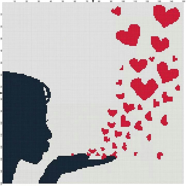 Blowing hearts x-stitch