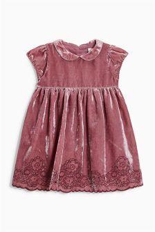 Розовое бархатное платье (3 мес.-6 лет)