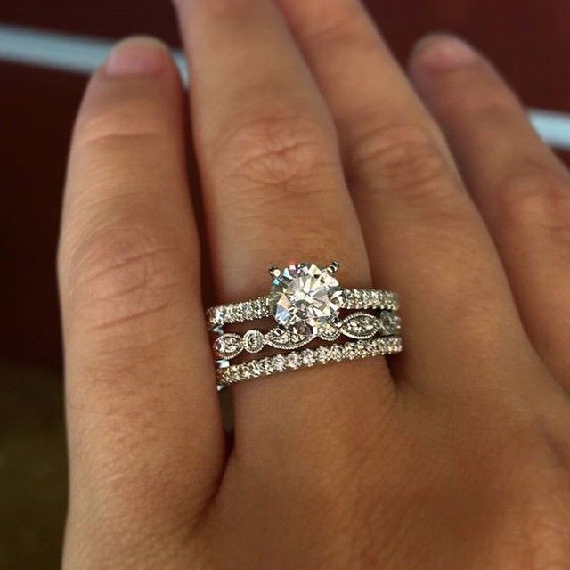 25 best ideas about stacked wedding rings on pinterest silver band wedding rings stacked wedding bands and metallic plus size jewellery - Wedding Band Engagement Ring