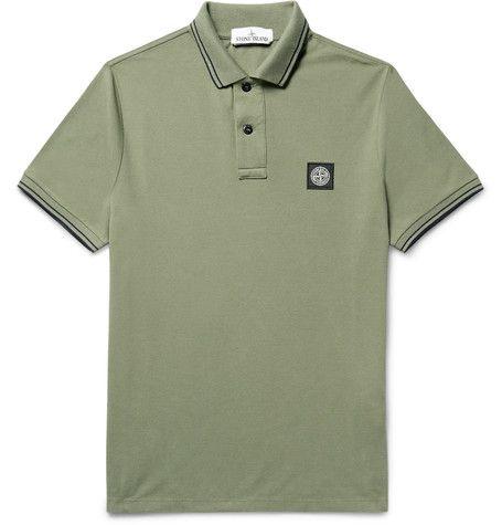 STONE ISLAND Slim-Fit Contrast-Tipped Stretch-Cotton Piqué Polo Shirt. #stoneisland #cloth #polos