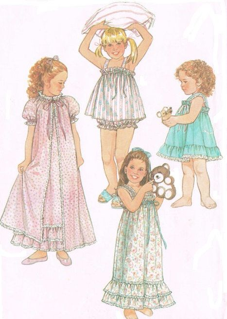 Simplicity 7453 Sewing Pattern 1980s Vintage Child's Girls' Pullover Nightgown Robe Baby Doll Pajamas Sleepwear