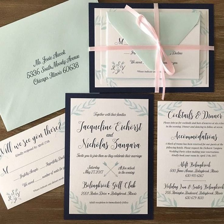 how to address wedding invites%0A We love how these mint and navy watercolor wedding invitations are bundled  with so much modern