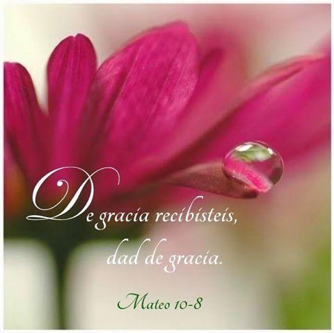 Mateo 10:8 Sanad enfermos, limpiad leprosos, resucitad muertos, echad fuera demonios; de gracia recibisteis, dad de gracia.♔