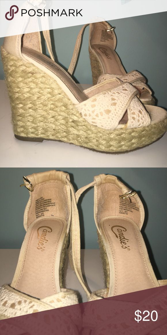 Cream wedges Candies wedges. Very cute and comfy. Lightly worn. No box Shoes Wedges
