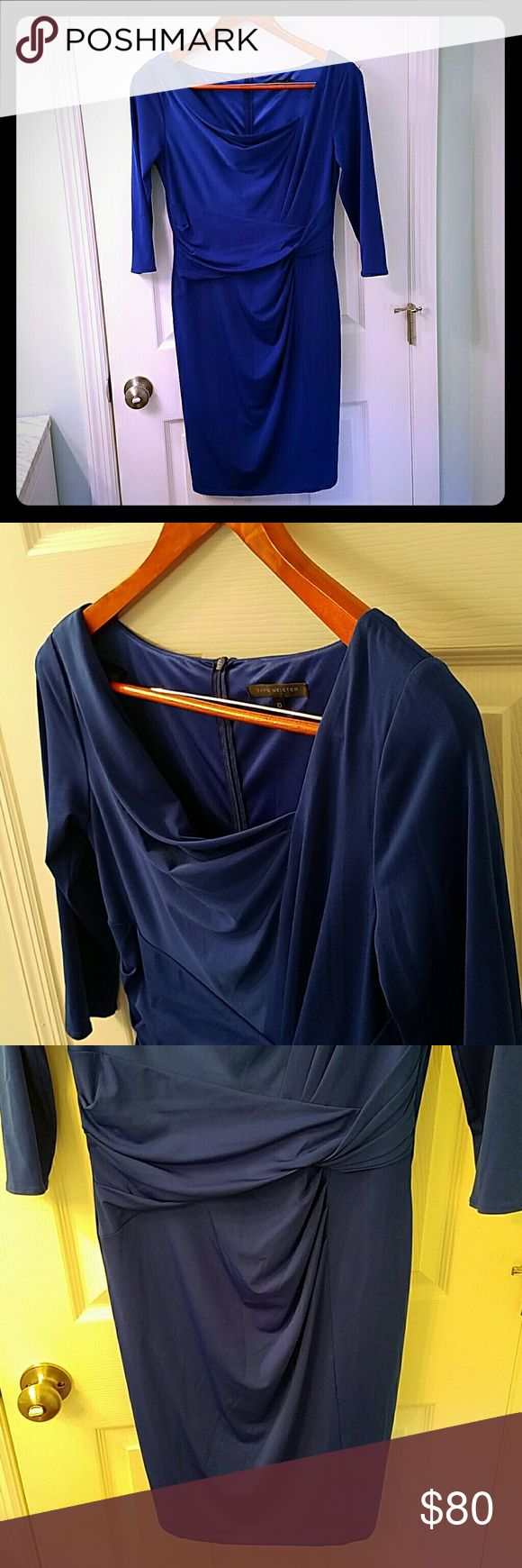 David Meister 3/4 sleeve dress Beautiful blue figure flattering dress made out of thicker stretch 95% polyester 5% spandex material.  Inside is lined.  Draping at collar and ruching at waist.  Very sexy but classic.  Size 10. David Meister Dresses Midi