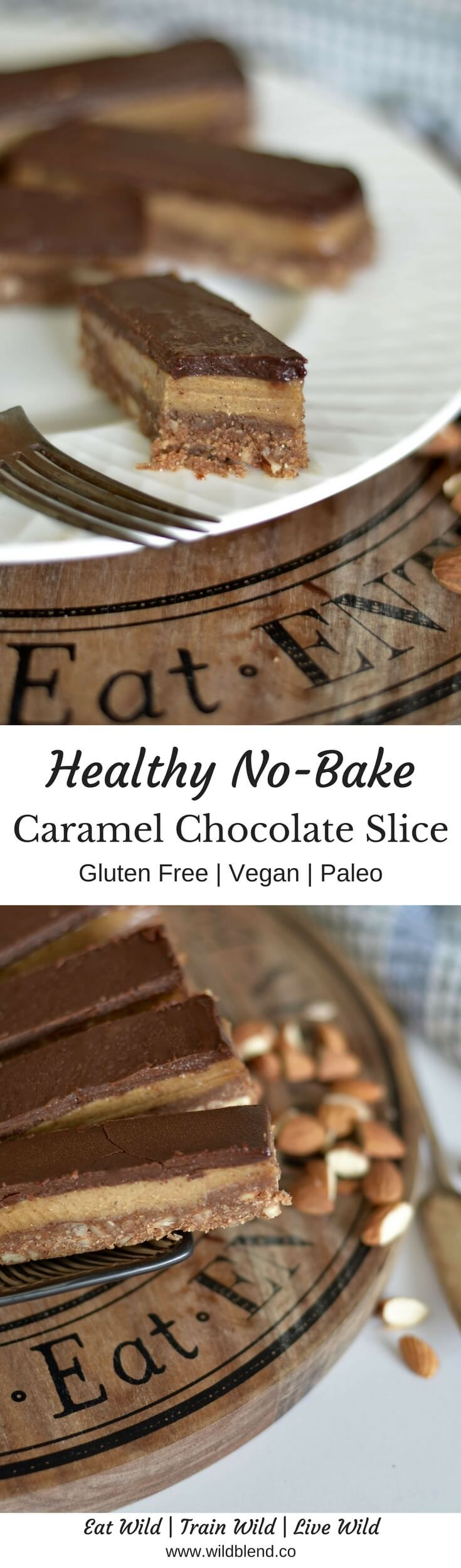 Think sticky caramel sandwiched between a healthy chocolate and gluten-free biscuit layers. This healthy chocolate caramel slice is too good to just eat one! Get the full recipe here: https://www.wildblend.co/healthy-chocolate-caramel-slice/