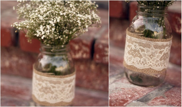 Burlap & lace mason jar decor...and babies breath..MY EXACT CENTERPIECE!! 9-21-13 A♥K