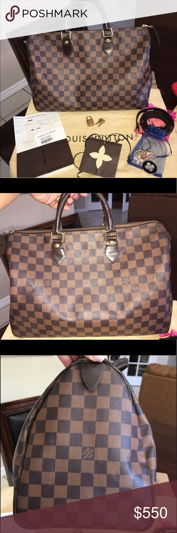 ❤️💯Authentic Speedy 35 Damier Ebene❤️ Preowned Speedy 35 in Damier Ebene😍 Not original owner. BAG INCLUDES: LV dust bag, lock & keys, receipt & tags. Fluffy base shaper, LV inspired bag charm, & brown shoulder strap. EXTERIOR: Signs of wear: handles, zipper pull tag, leather piping; (corner scuffs); checkered leather: some wear marks/scuffs. INTERIOR: Used condition, red lining faded, pocket & leather opening trim signs of wear.❣️Price is firm, due to Posh fees &would like to get back what…