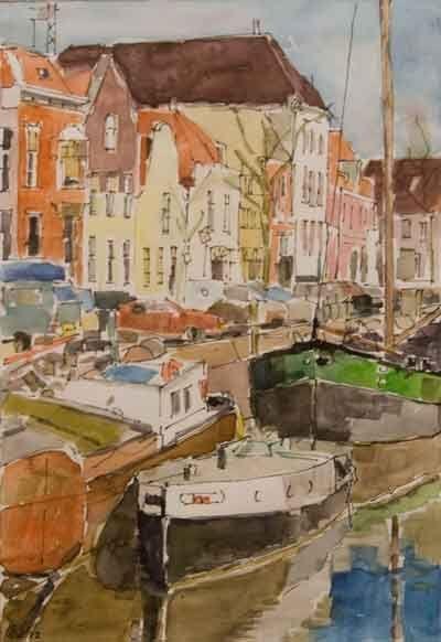 Aquarel. Met speciale waterverf, transparant (doorzichtig) schilderen op papier(Stadsgracht Zwolle in aquarel van Saskia Wevers)
