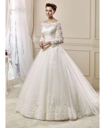 Abito da Sposa A Line con maniche di pizzo e scollo a barca - Tulle and Lace Wedding gown available online @miamastore.com