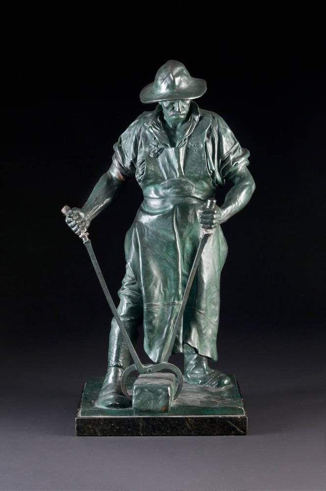 JOHANN FRIEDRICH REUSCH1843 Siegen - 1906 AgrigentStahlarbeiter Bronze, grün patiniert, schwarzer M