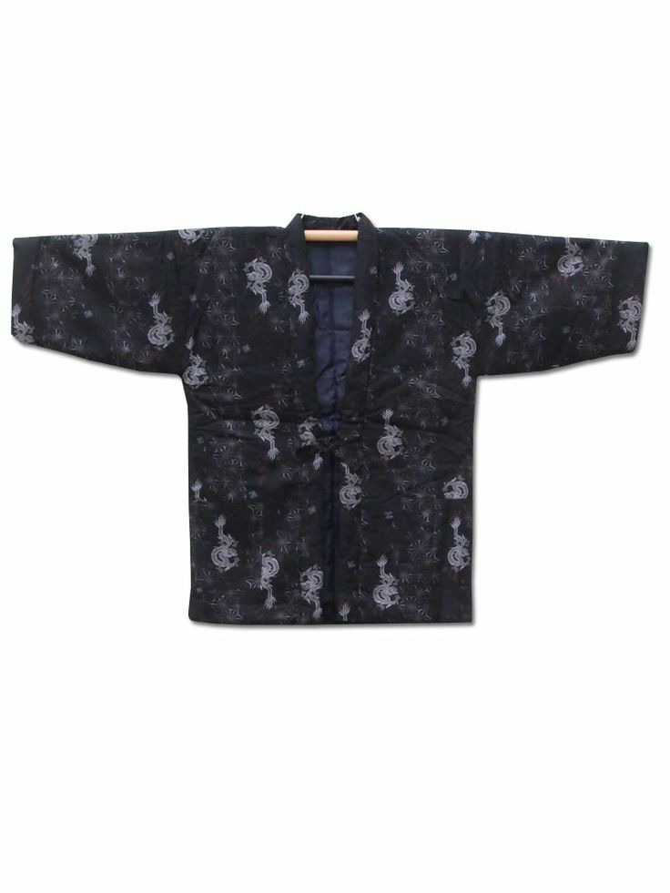 Fuji Kimono #FathersDay gift idea No.3 ☆ 'Dragon's Den' - Men's #Japanese padded #hanten #coat with #dragon and hemp leave motif design - http://www.fujikimono.co.uk/mens-haori/dragons-den.html