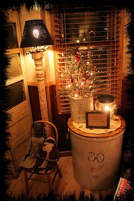 Make a wood topper to attach to top of butter churner & use as a side table.  I can finally use Gma's container! Use as display table on landing to basement.