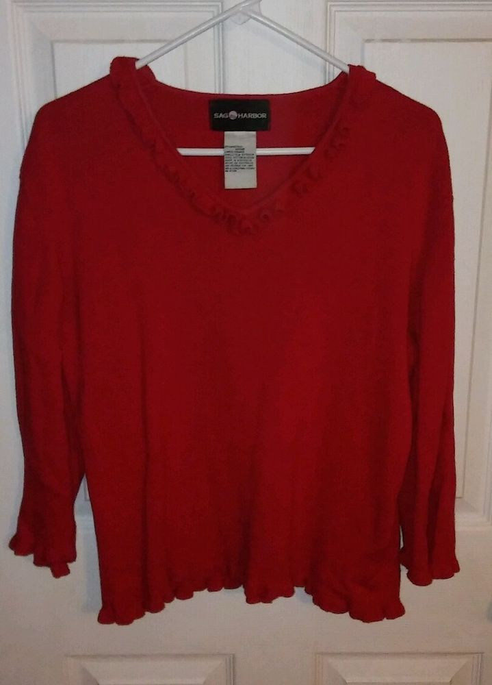 Sag Harbor Red Cotton Sweater 3/4 Sleeves Women's Size L Ruffle Neckline & Hem | Clothing, Shoes & Accessories, Women's Clothing, Sweaters | eBay!