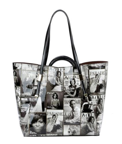 d713e28b30 Michelle Obama Glossy Magazine Collage Purse 3 pc set 2 Bags   Matching  Wallet