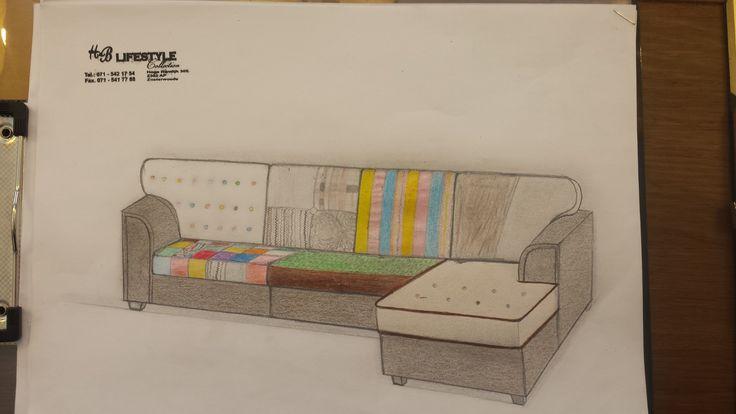 Model: Athene lounge patchwork bank naar wens getekend voor een klant.