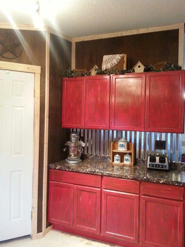 fascinating kitchen cabinet backsplash red | Red glazed cabinets pictures don't do justice tin ...