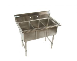 """Quality Commercial Kitchen Equipment - Economy Small """"Trailer"""" 3 compartment Stainless 12x20 Sink"""