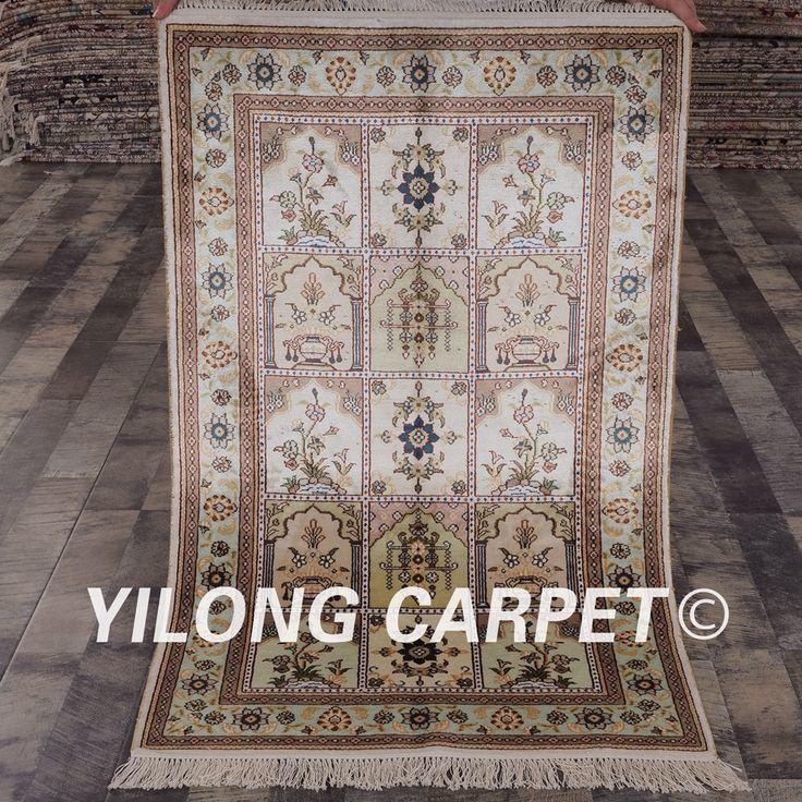 YILONG 2.5'x4′ Oriental silk carpet four season vantage exquisite Turkish garden silk rugs (YHW209B2.5×4)
