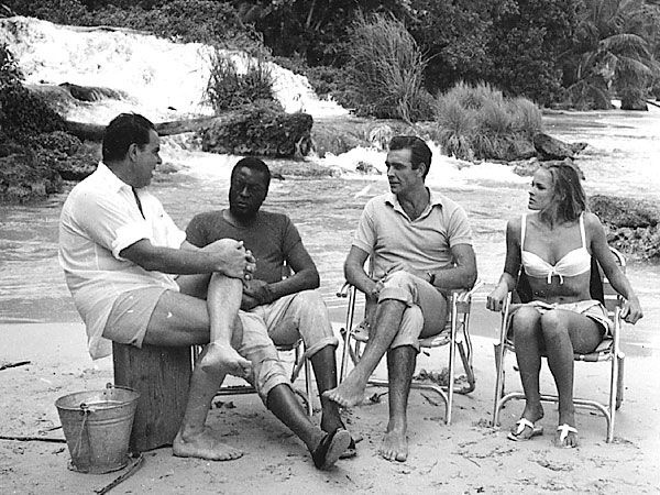 """don56:  """" Cubby Broccoli, John KItzmiller, Sean Connery and Ursula Andress on the set of """"Dr. No"""" """""""