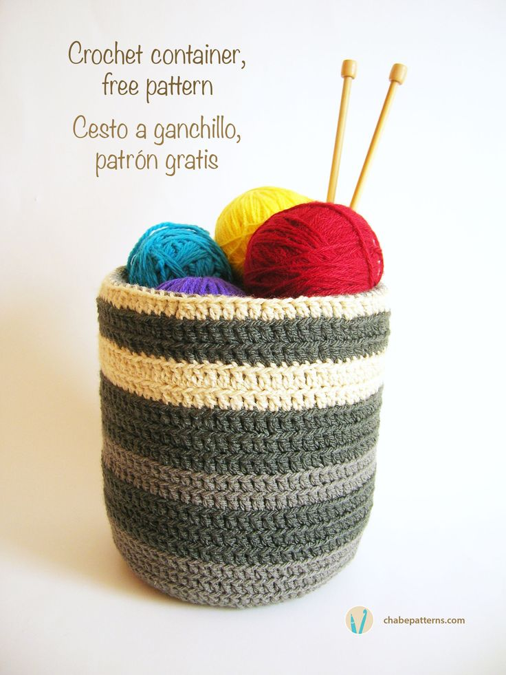 Crochet container, free pattern, written instructions, photo tutorial/ Cesto a ganchillo, patrón gratis, instrucciones escritas y foto-tutorial