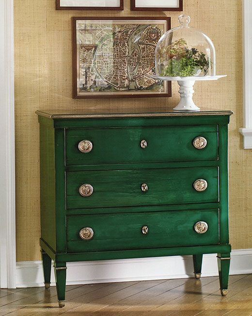 luxury furniture - hand-painted furniture - Neoclassic style rectangular wood chest with three drawers, distressed lacquered green finish and antiqued silver trim