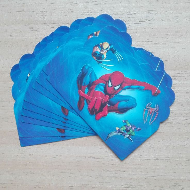 10pc/lot spiderman party supplies invitation card kid's birthday party supplies and spider man party and event supplies 01