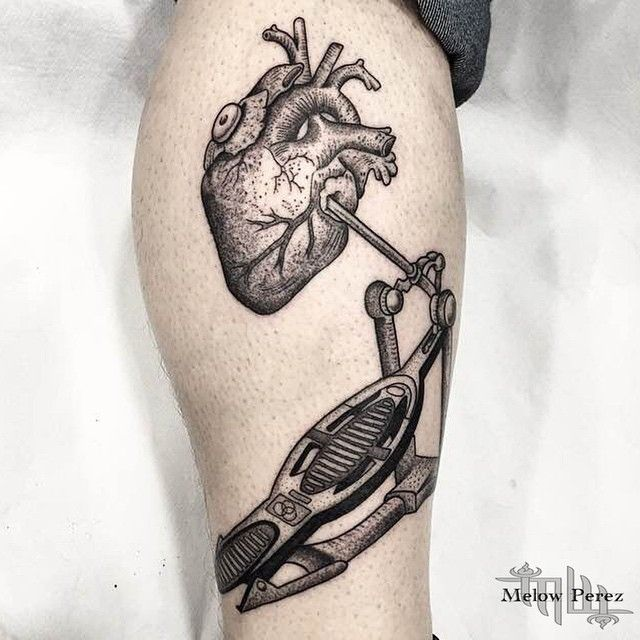 Heart Drum Dotwork Tattoo On Leg | Best Tattoo Ideas Gallery