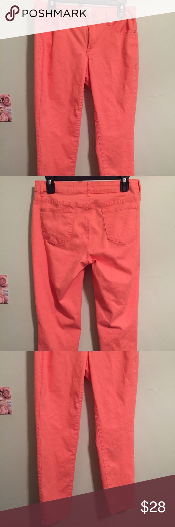 CROWN & IVY CORAL JEANS IN A SIZE 10P EUC!!! Crown & Ivy Coral jeans in a size 10 Petite. Jeans are in EUC!! I wore these once,  then laundered them. These jeans are definitely a size too big. If you wear a 12P then the 10P would work great. Material is 98% cotton and 2% spandex. Crown & Ivy Jeans